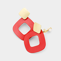 Colored Metal Cut Out Curved Square Clip on Earrings