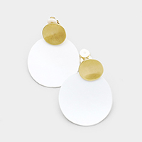 Colored Metal Disc Clip on Earrings