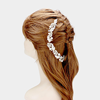 Pearl Detail Crystal Metal Leaf Bun Wrap Headpiece