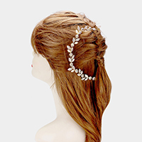 Pearl Accented Crystal Leaf Cluster Bun Wrap Headpiece