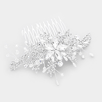 Oval Crystal Flower Accented Pearl Leaf Hair Comb