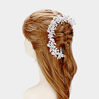 Crystal Teardrop Accented Leaf Cluster Hair Comb