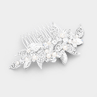 Pearl Crystal Flower Leaf Cluster Hair Comb