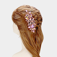 Crystal Teardrop Accented Leaf Hair Comb