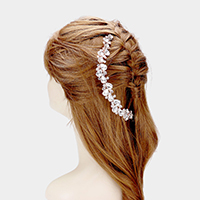 Crystal Teardrop Cluster Bun Wrap Headpiece