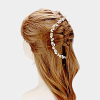 Floral Crystal Teardrop Accented Bun Wrap Headpiece
