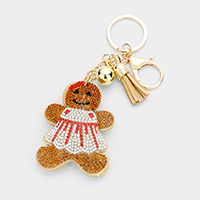 Rhinestone Ginger Cookie Tassel Key Chain
