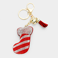 Rhinestone Christmas Sock Tassel Key Chain