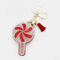 Rhinestone Christmas Lollipop Tassel Key Chain