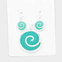 Sea Glass Swirl Wave Round Pendant Set
