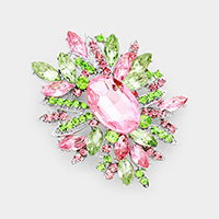 Crystal Flower Leaf Cluster Brooch / Pendant