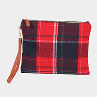 Plaid Check Wristlet Clutch Bag