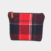Plaid Check Pouch Cosmetic Bag