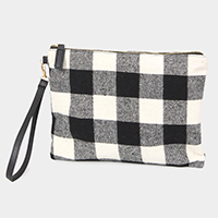 Buffalo Check Wristlet Clutch Bag