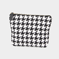 Houndstooth Pouch Cosmetic Bag