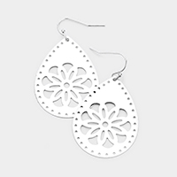 Filigree Teardrop Metal Disc Dangle Earrings