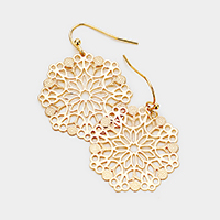 Filigree Floral Metal Dangle Earrings