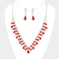 Rhinestone Pave Crystal Round Teardrop V Collar Necklace