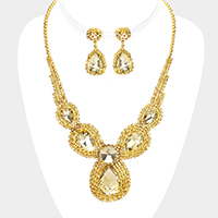 Crystal Rhinestone Pave Crystal Teardrop Bib Necklace