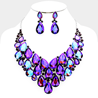 Marquise Crystal Teardrop Cluster Vine Evening Necklace