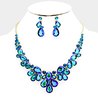 Marquise Floral Crystal Teardrop Evening Necklace