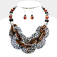 Layered Leopard Round Shell Twisted Multi Beaded Necklace