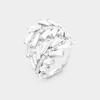 Rhodium Plated Swirl Cubic Zirconia Cluster Ring