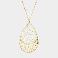 Wire Net Pearl Teardrop Pendant Long Necklace