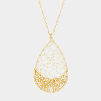 Wire Net Beaded Teardrop Pendant Long Necklace
