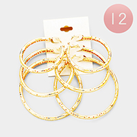 12 Set of 3 - Mixed Pored Metal Hoop Earrings