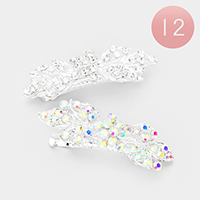 12PCS - Crystal Flower Leaf Barrettes