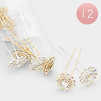 12PCS - Crystal Pave Flower Mini Hair Comb Pins
