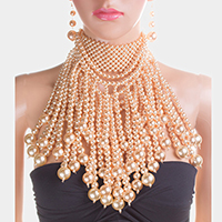 Pearl Fringe Bib Choker Necklace