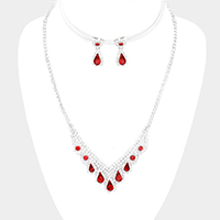 Crystal Teardrop Accented Rhinestone Pave Necklace