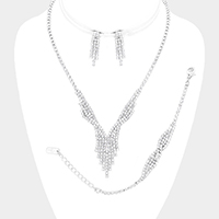 3PCS Twisted Crystal Rhinestone Pave Fringe Necklace Set