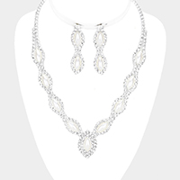 Oval Pearl Accented Crystal Rhinestone Pave Necklace