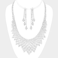 Pointed Crystal Rhinestone Pave Necklace