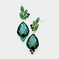 Rhinestone Pave Leaf Crystal Teardrop Evening Earrings