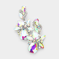 Floral Crystal Statement Evening Earrings