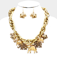 Elephant Fringe Chain Necklace