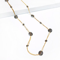 Textured Round Metal Station Long Necklace