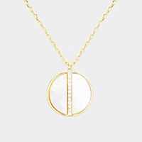 Brass CZ Round Mother of Pearl Pendant Necklace