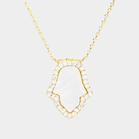 Brass CZ Trim Mother of Pearl Hamsa Hand Pendant Necklace