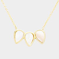 Brass Mother of Pearl Triple Teardrop Pendant Necklace