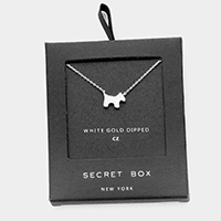 Secret Box _  White Gold Dipped CZ Puppy Pendant Necklace