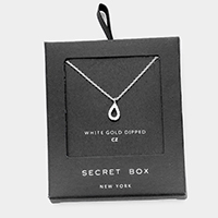 Secret Box _  White Gold Dipped CZ Teardrop Pendant Necklace