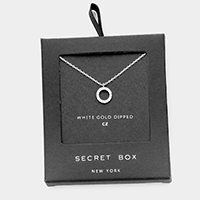 Secret Box _  White Gold Dipped CZ Hoop Pendant Necklace