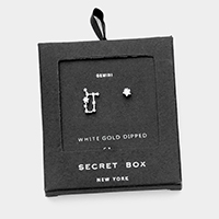 Secret Box _ CZ Zodiac Sign Gemini Stud Earrings