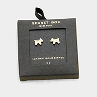 Secret Box _ 14K Gold Dipped CZ Puppy Stud Earrings