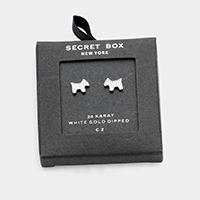 Secret Box _  White Gold Dipped CZ Puppy Stud Earrings
